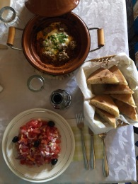 Lunch! Tagine beef, moroccan salad & bread.